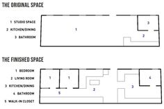 267-wyckoff-studio-floor-plan. Article has pictures and story of this NYC studio turned into a 2BR, living large space!