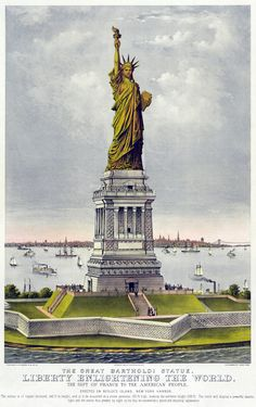 """Originally a chromolithograph by Currier & Ives, this print depicts the Statue of Liberty circa The statue was a gift of France to the American people. Also known as the """"Bartholdi statue"""". Statue Of Liberty Facts, Doodle, Currier And Ives, Canvas Prints, Art Prints, New York, France, Historical Illustrations, Vintage Illustrations"""