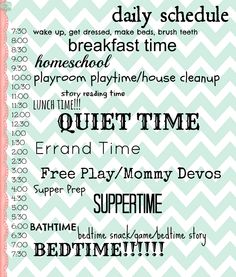 Stay at home mom schedule. I like the general idea of this plan--schedules are one of my favorite things nowadays. ;D