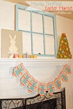 Simple, thrifted Easter Mantel {and free printable chevron bunny banner}