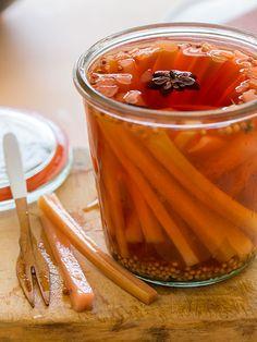 rhubarb-pickle-recipe http://spoonforkbacon.com/2013/05/rhubarb-pickles/