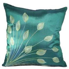 "Green Lotus Leaves 18""x18"" Decorative Silk Throw Pillow Cover by Exotique Imports, http://www.amazon.com/dp/B004TMOIZI/ref=cm_sw_r_pi_dp_LEc7qb181XJ8Z"