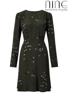 Buy Nine By Savannah Miller Shadow Swallow Print Dress online today at Next…