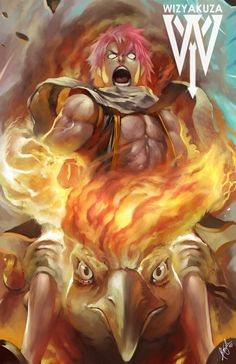 Natsu Dragneel and Moltres Pokemon and Fairy Tail by Wizyakuza