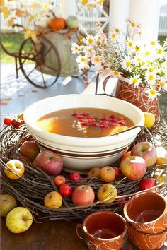 I like the punch bowl in the wreath idea...