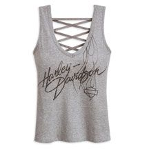 Women's Lace Back Harley Tank Top | MotorClothes® Merchandise | Harley-Davidson USA