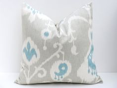Ikat Pillow Throw Pillow Covers 18x18 Gray Pillow  Grey Blue Pillow Decorative Throw Pillows ONE Printed fabric both sides via Etsy - $28