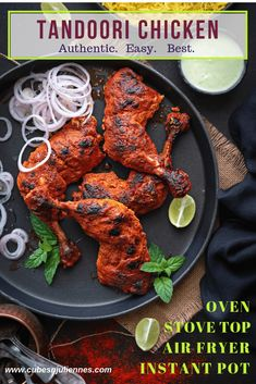 Make this iconic restaurant style authentic tandoori chicken recipe on a grill or oven or gas stove. An irresistible grilled chicken tandoori recipe which is easy and best and requires no secret tandoori chicken masala. Chicken Tandoori Masala, Authentic Tandoori Chicken Recipe, Tandoori Chicken Marinade, Tandoori Recipes, Indian Chicken Recipes, Indian Food Recipes, Best Chicken Tikka Recipe, Tandoori Masala Recipe, Chicken