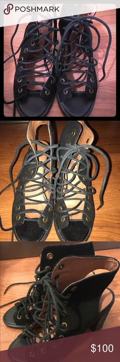 Jeffrey Campbell lace up booties Super cute barely worn Jeffrey Campbell lace up booties, originally purchased from free people ! Jeffrey Campbell Shoes Lace Up Boots