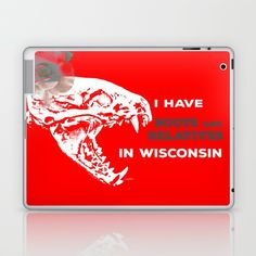 I Have Roots and Relatives in Wisconsin Laptop & iPad Skin by Vikki Salmela. Worldwide shipping available at Society6.com. Fun #badger #skull with #rose #typography #art on #tech #accessories, #homedecor, #fashion, and just fun stuff!