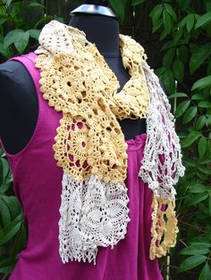 "Scarf crafted from Vintage Crocheted ""Doilies"". $45.00, via Etsy."