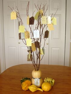 Thankful Tree.... STEPH, this reminds me of what you did for Mom A's table for her Cancer Free Celebration!! :)