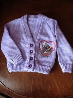 Lilac hand knitted baby cardigan with Lady & the Tramp embroidery Knitted Baby Cardigan, Lady And The Tramp, Daddys Girl, Baby Ideas, Baby Knitting, Handmade Gifts, Lilac, Knit Crochet, Nursery