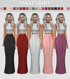 hallowsims:HallowSims Maxi Skirt - Comes in 22... | love 4 cc finds