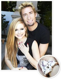 Avril Lavigne and Chad Kroeger  Nickelback frontman Chad Kroeger proposed to pop rocker Avril Lavigne with a 14-carat pear-shaped rock flanked by two half-moon shaped diamonds.