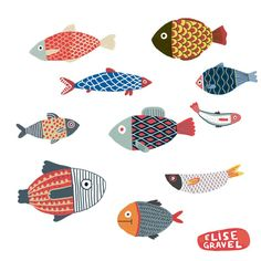 Fish illustration, Poissons by Elise Gravel, fish design Art And Illustration, Illustrations, Elise Gravel, Fish Design, Fish Art, Art Plastique, Art For Kids, Art Drawings, Drawing Sketches