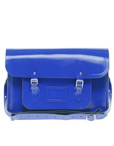 "Cambridge Satchel 15"" in Dazzling Blue."