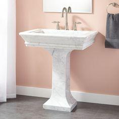 Polished Carrara Marble Pedestal Sink