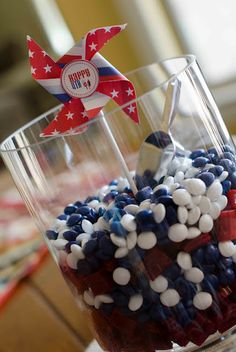 York Peppermint Bite Size Pieces with Red Twizzler Bites for a 4th of July Centerpiece