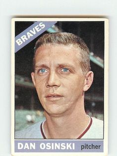 Dan Osinski shows his nice blue eyes on this card.  He did some nice work for the Red Sox in 1967 but a sore arm limited him.  Had a reputation of not being afraid to throw inside.