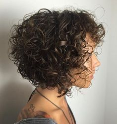 Brown Bob For Curly Hair #curlyhairstyles