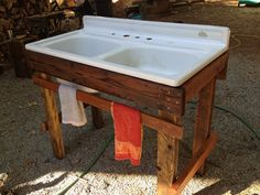 My new outdoor sink! Made from repurposed wood, found sink with beeswax and linseed oil finish.