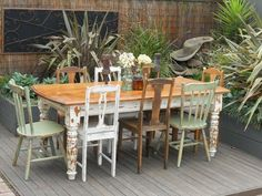 Vintage Industrial,Shabby Chic Table With 8 Eclectic Se...                                                                                                                                                                                 More