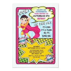 Superhero Super Girl Comic book Invitations Superhero Birthday Invitations, Superhero Birthday Party, Birthday Invitation Templates, Girl Birthday, Make Your Own Superhero, Supergirl Comic, Quinceanera Invitations, Kids Party Supplies