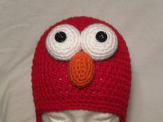 Crocheted Elmo Hat w/ Earflaps