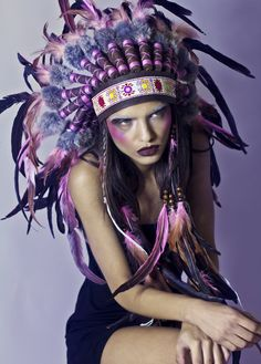 Salmon pink feather and leather headdress costume by rougepony