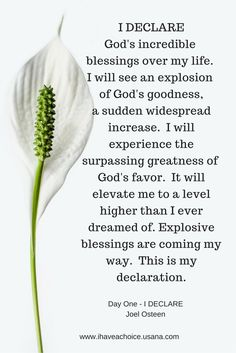 I Declare God's incredible blessing...explosive blessings are coming my way.---Joel Osteen