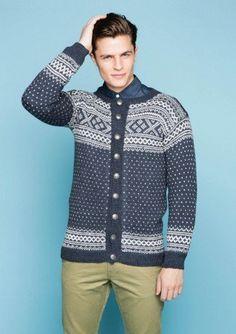 Setesdal Men's Cardigan pattern by Sandnes Design Sweater Cardigan, Men Sweater, Er 5, Norwegian Knitting, Icelandic Sweaters, Knit Fashion, Knit Crochet, Sportswear, Vest