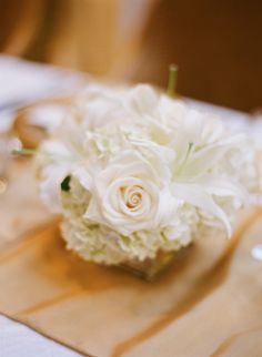 White Rose Wedding Centerpiece | photography by http://www.buffydekmar.com/
