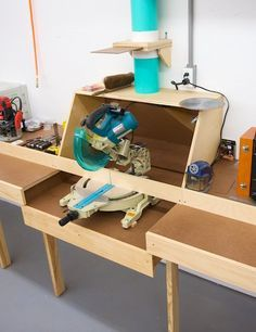 Miter Saw Station. Like the dust hood