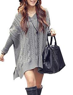 Женский свободный свитер с В образном вырезом шеи