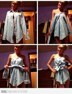 Les filles, voici une méthode simple et efficace pour recycler les chemises de votre geek préféré en robe sexy.