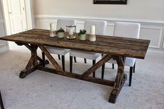 Build a stylish kitchen table with these free farmhouse table plans. They come in a variety of styles and sizes so you can build the perfect one for you. Farmhouse dining room table and Farm table plans. Build A Table, Farmhouse Dining Room Table, Dining Room Table Decor, Decoration Table, Dining Tables, Dining Rooms, Kitchen Dining, Diy Table, Outdoor Dining