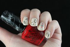 #ablecaw14 Week 13: My Profession, (teacher). OPI - My Vampire Is Buff / OPI - Over & Over A-Gwen / Models Own - Nude Beige / Konad - Black / MoYou London - Hipster 08 / Konad - m17.