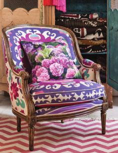 Beautiful Upholstered Chair by Fenton & Fenton/ need to do this to my old French provincial sofa!