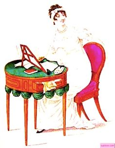 1812   Evening Dress, English. Lady in a white high-waisted dress sitting at a painting table.  Fashion Plate via John Belle's La Belle Assemblee Magazine, London.  suzilove.com