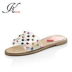 f24839b56faaa 2017 Summer Style Slippers Fashion Rivet Women Mules Sexy Open-toe Shoes  Plus Size 43