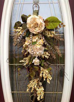 """Teardrop Door Twig Swag Vertical Decor """"Ivory Elegance""""."""