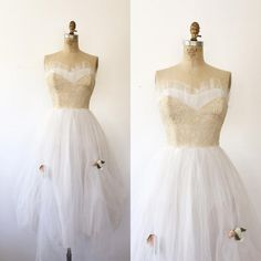 1950s dress / 50s lace party dress / Lace & Tulle by nocarnations