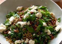 Karen Martini's Freekah salad with feta and toasted almonds Freekah Recipes, Salad Recipes, Karen Martini Recipes, Healthy Food, Healthy Recipes, Dinners, Meals, Toasted Almonds, Sugar Free Recipes