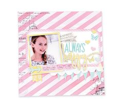 Always Happy Scrapbook Page by Heidi Swapp