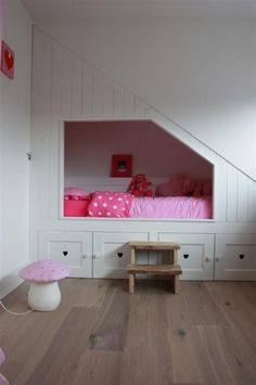 Toddler bed under stairs . Nice floors too! Bedroom Loft, Girls Bedroom, Bedrooms, White Bedroom, My New Room, My Room, Bed Under Stairs, Bunk Beds Built In, Built In Beds For Kids