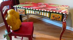 desk by lisA fRosT studio Whimsical Painted Furniture, Hand Painted Furniture, Funky Furniture, Upholstered Furniture, Paint Furniture, Repurposed Furniture, Furniture Projects, Furniture Makeover, Furniture Decor