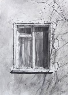 window pencil drawing. drawing - atanas matsoureff window pencil