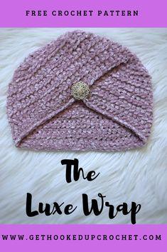 The Luxe Wrap- Free Crochet Pattern Crochet Turban, Easy Crochet Hat, Crochet Hat For Women, Crochet Headband Pattern, Crochet Cap, Crochet Beanie, Crochet Crafts, Free Crochet, Crochet Patterns