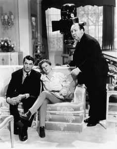 Cary Grant, Joan Fontaine and Alfred Hitchcock on the set of SUSPICION